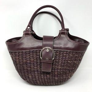 Handbags - Woven Handbag Purple Purse Basket Faux Leather
